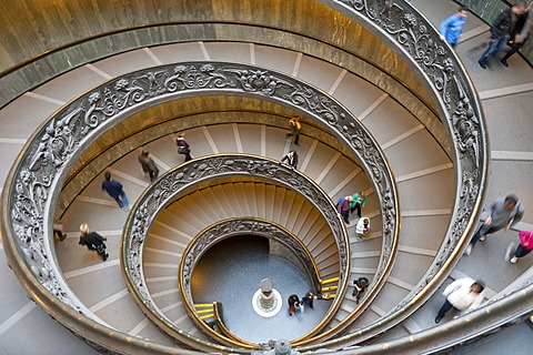 Double-helix of the spiral staircase in the Vatican Museums, Vatican, Vatican City, Rome, Lazio, Italy, Southern Europe, Europe