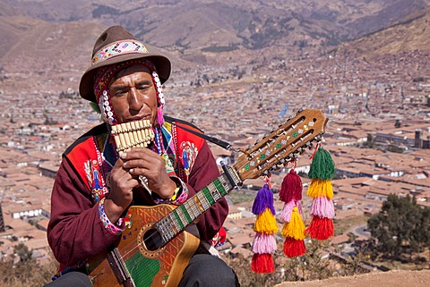 Musician wearing a traditional costume, Cuzco, Cusco, Peru, South America