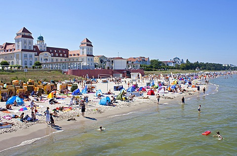 Spa hotel and beach, Binz, Ruegen Island, Mecklenburg-Western Pomerania, Germany, Europe
