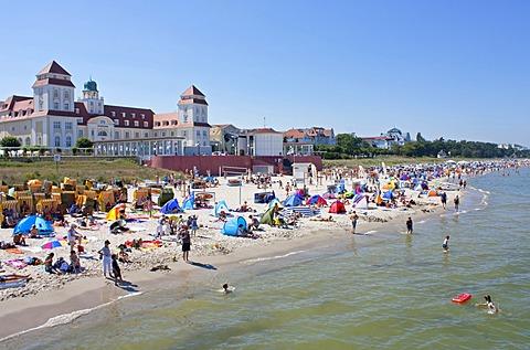 Spa hotel and beach, Binz, Ruegen Island, Mecklenburg-Western Pomerania, Germany, Europe