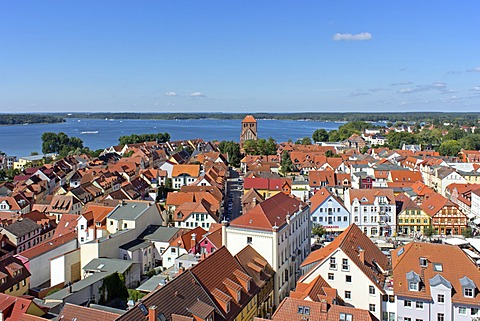View from the tower of St. Mary's Church, Waren, Mecklenburg Lake District, Mecklenburg-Western Pomerania, Germany, Europe