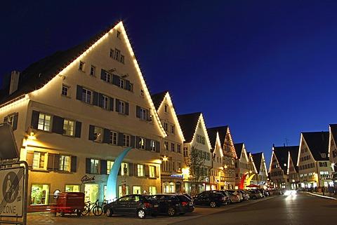 Houses on the Marktplatz market square at the blue hour, Biberach an der Riss, Upper Swabia, Baden-Wuerttemberg, Germany, Europe
