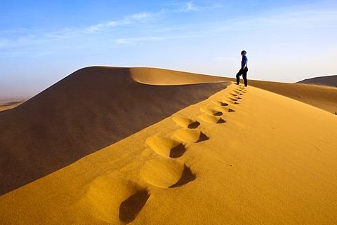 Woman walking in the dunes, Erg Chegaga region, Sahara desert near Mhamid, Morocco, Africa