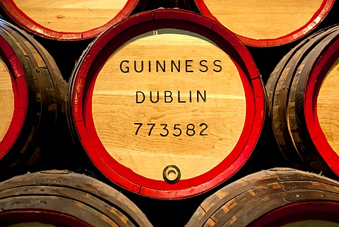 Guinness beer barrels in the museum of the Storehouse in the Guinness brewery, part of the Diageo drinks company, Dublin, Ireland, Europe