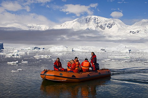 Tourists in an inflatable boat, Neko Harbor, Gerlache strait, Antarctic Peninsula, Antarctica