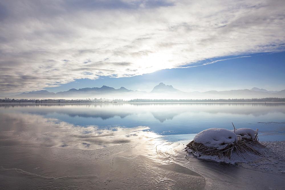 Early morning mist on lake Hopfensee in winter, Allgaeu, Bavaria, Germany, Europe, PublicGround
