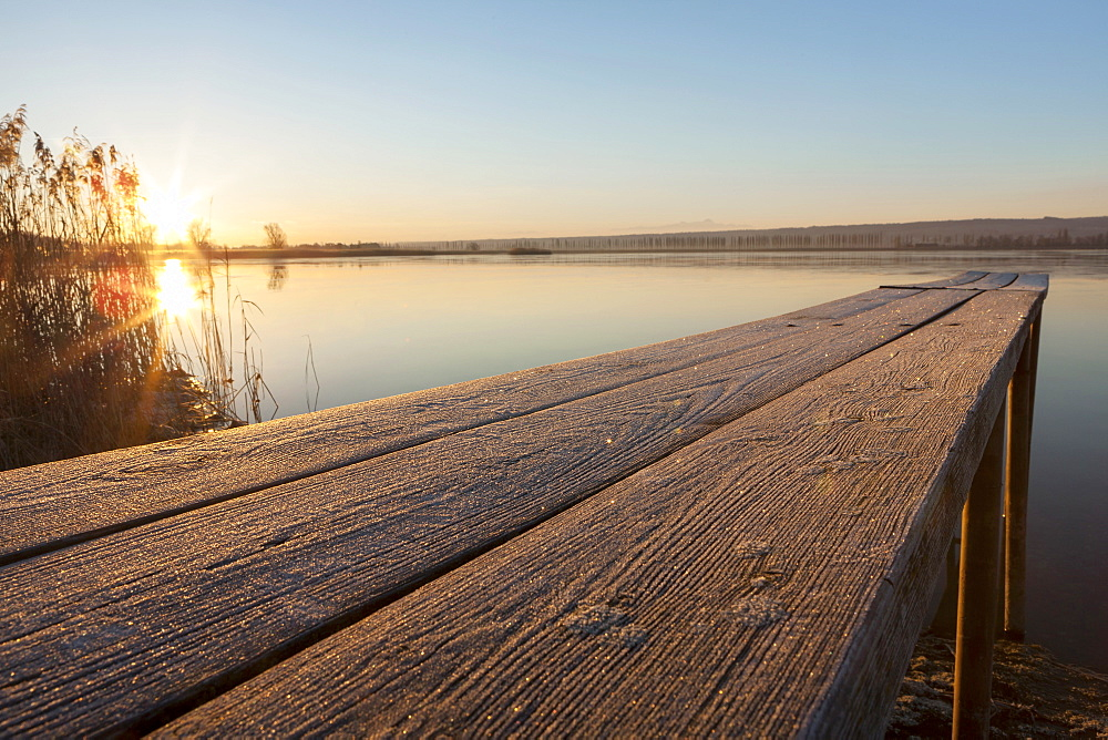 Jetty on Lake Constance with hoarfrost in the morning light, near Hegne, Baden-Wuerttemberg, Germany, Europe, PublicGround