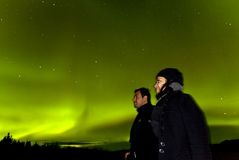 Couple, woman and man, watching swirling Northern lights, Polar Aurorae, Aurora Borealis, green, near Whitehorse, Yukon Territory, Canada