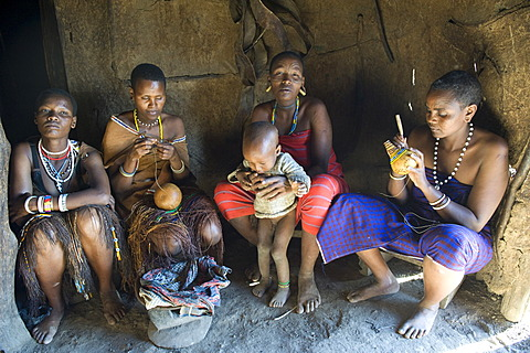 A group of women of the Datooga tribe, who live in the north of Tanzania around Lake Eyasi, Africa