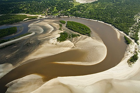 Aerial view, river carrying sediments, with sand banks, Pwani Region, Tanzania, Africa