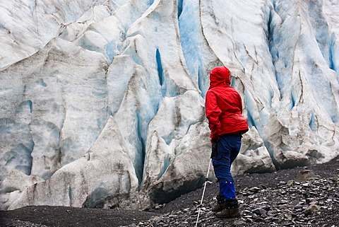Hiker at Exit Glacier, Alaska, USA