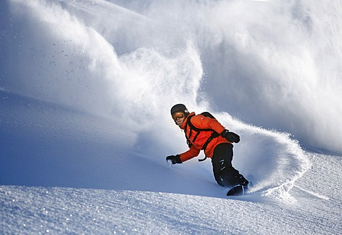 Snowboarder, freerider, Sölden, Tyrol, Austria