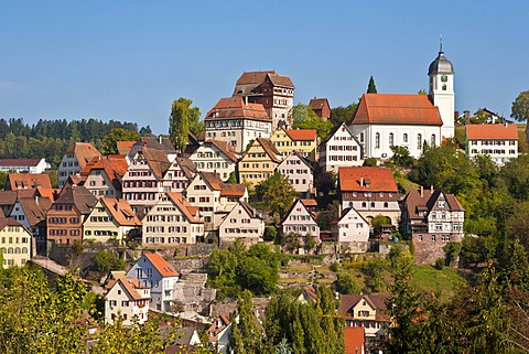 Historic town centre of Altensteig, Black Forest, Baden-Wuerttemberg, Germany, Europe