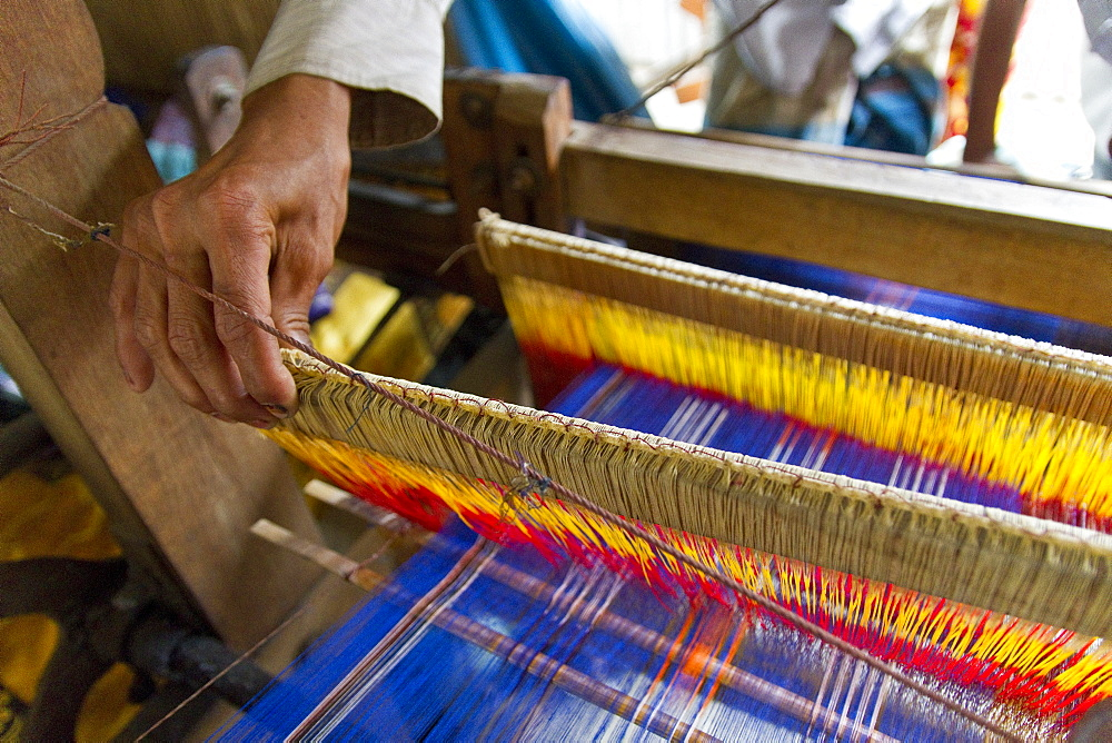 Hand at the loom, the establishment of the loom takes a day, 2300 threads have to be pulled twice by hand through eyelets, Batpara, Shahazadpur Upazila, Sirajganj, Bangladesh, South Asia, Asia - 832-374664