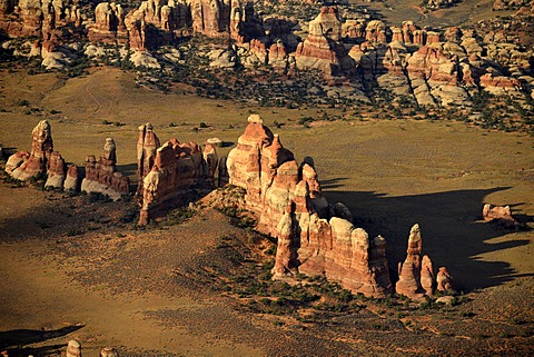 Aerial view, Chesler Park, pinnacles in The Needles District, Canyonlands National Park, Utah, United States of America, USA
