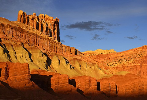 Last daylight at The Castle Rock, sunset after a thunderstorm, Capitol Reef National Park, Utah, Southwestern USA, USA