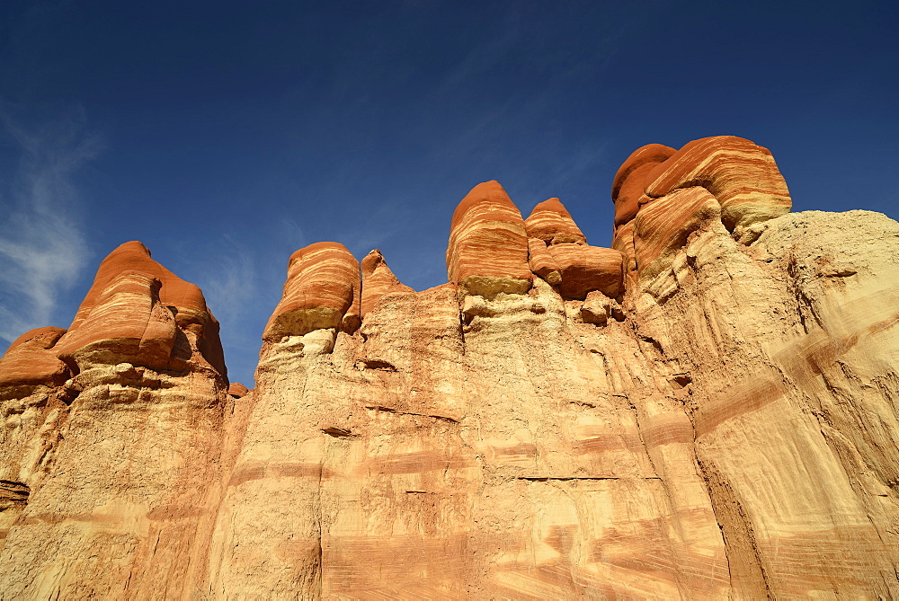 Eroded hoodoos and rock formations in Blue Mosquito Canyon discolored by minerals, Coal Mine Mesa, Painted Desert, Hopi Reservation, Navajo Nation Reservation, Arizona, Southwest, United States of America, USA