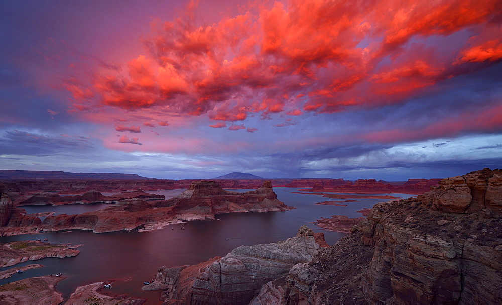 Afterglow, view from Alstrom Point to Lake Powell illuminated by clouds after sunset, Padre Bay with Gunsight Butte and Navajo Mountain, houseboats, Bigwater, Glen Canyon National Recreation Area, Arizona, Southwestern USA, Utah, USA