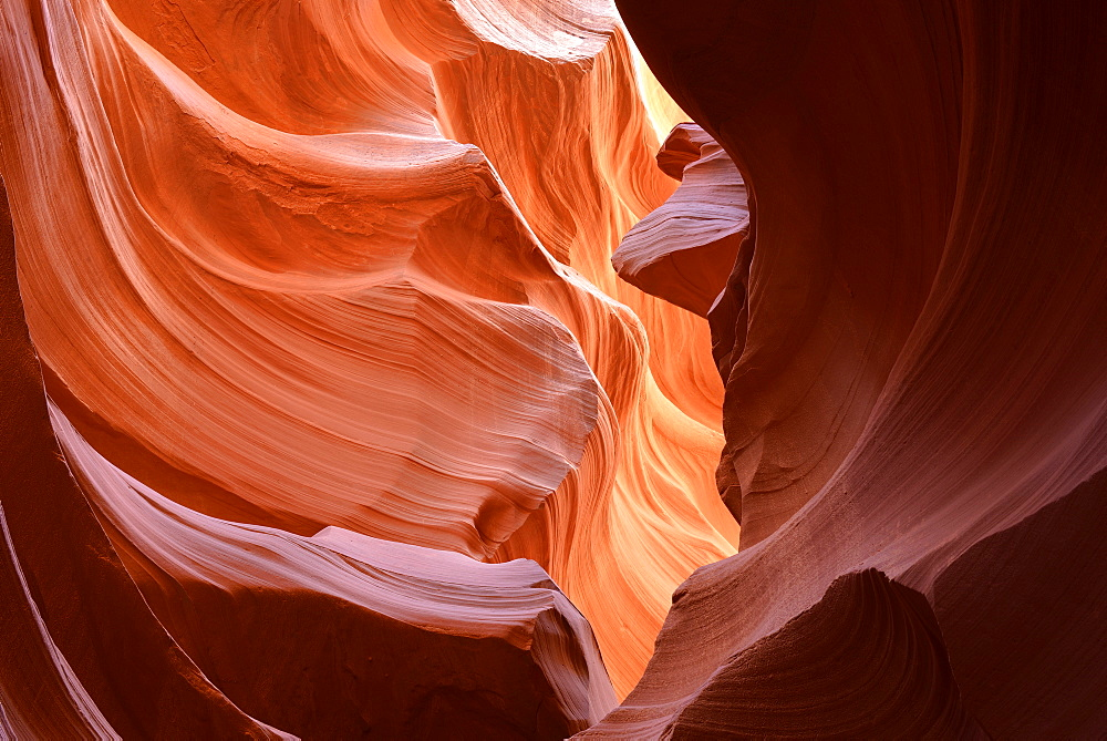 Red sandstone of the Moenkopi Formation, rock formations, colors and patterns, Lower Antelope Slot Canyon, Corkscrew Canyon, Page, Navajo Nation Reservation, Arizona, USA