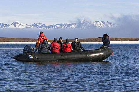 Tourists in Zodiac, Spitsbergen, Norway, Europe