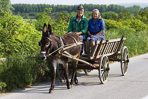 Farmer with donkeycart, Bulgaria, Europe