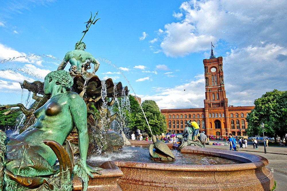 Red Town Hall and Neptune Fountain in Berlin, Germany, Europe