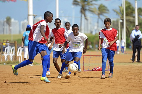 Soccer event for children and young people from poor neighborhoods, Festival da Bola, social project of the Deutsche Gesellschaft für Internationale Zusammenarbeit, GIZ, German Federal Enterprise for International Cooperation, Salvador da Bahia, Bahia, B