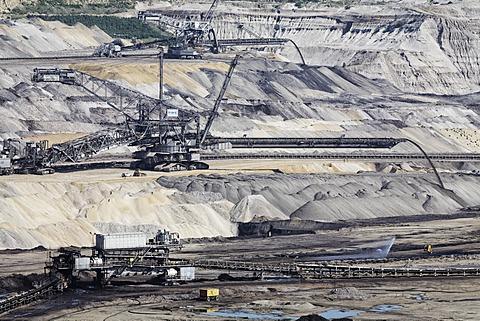 Slag heap, Inden open-cast mining, North Rhine-Westphalia, Germany, Europe