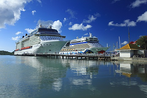 Cruise ships, Redcliffe Quay, St. Johns, Antigua, Antigua and Barbuda, North America