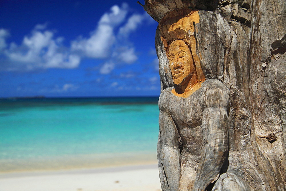 Sculpture carved into tree trunk, Pineapple Beach, Pineapple Beach, Antigua, Antigua and Barbuda, North America