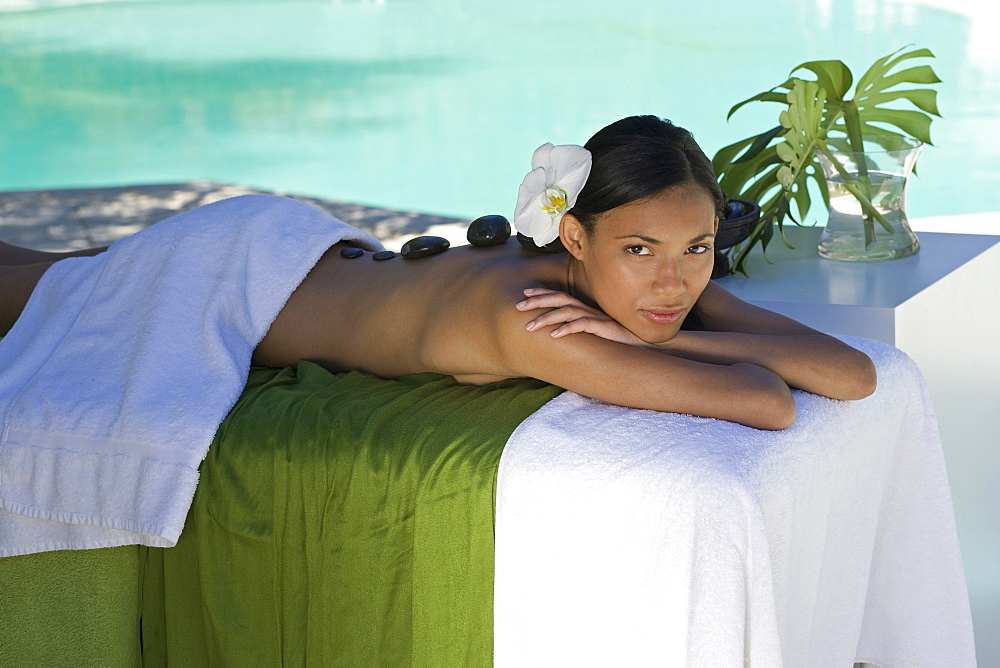Woman enjoying a wellness and spa treatment, South Africa, Africa