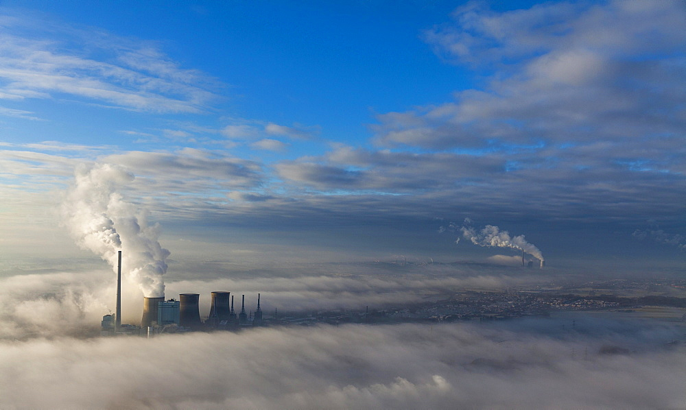 Aerial view, low clouds, Gersteinwerk of RWE Power, coal-fired power plant, temperature inversion, Bockum-Hövel, Hamm, Ruhr Area, North Rhine-Westphalia, Germany, Europe