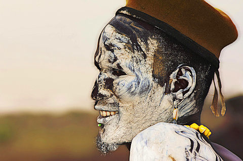 Nyangatom or Bume man with painted face, Omo river Valley, Ethiopia, Africa - 832-378406