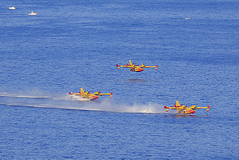 Firefighting aircraft Canadair CL 415, French Sécurité Civile, filling with seawater to extinguish forest fires, Mediterranean Sea, Provence-Alpes-Côte d'Azur, France, Europe