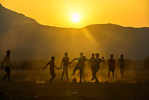 Boys playing soccer, Socotra, Yemen, Asia