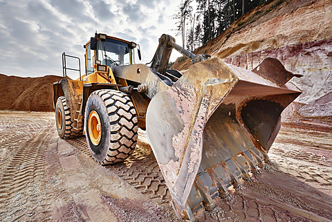 Shovel excavator in kaolin pit, mining of kaolin, Gebenbach, Bavaria, Germany, Europe