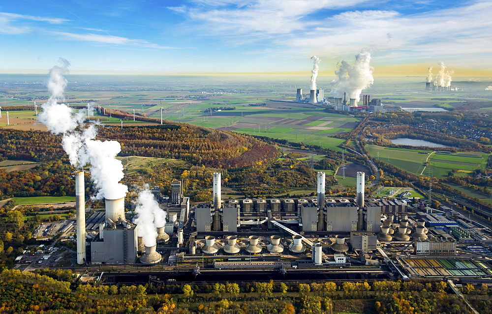 Frimmersdorf Power Station, Neurath Power Station, BoA 2 and 3, Niederaussem Power Station, Frimmersdorf Power Station, RWE Power, lignite power plant, Grevenbroich, Rhineland, North Rhine-Westphalia, Germany, Europe - 832-378602