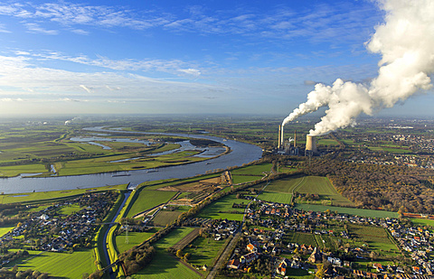 Emschermündung, River Emscher and Rhine, coal power plant, Dinslaken, Ruhr district, North Rhine-Westphalia, Germany, Europe
