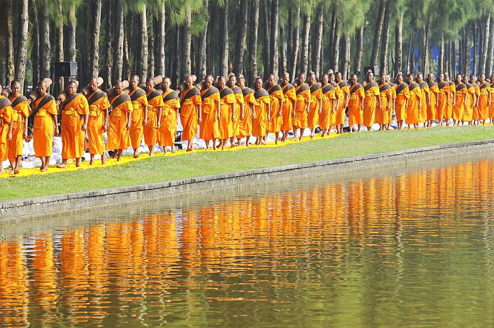 Monks next to pine forest, reflection, Thudong or Dhutanga, Wat Phra Dhammakaya, Khlong Luang District, Pathum Thani, Bangkok, Thailand, Asia