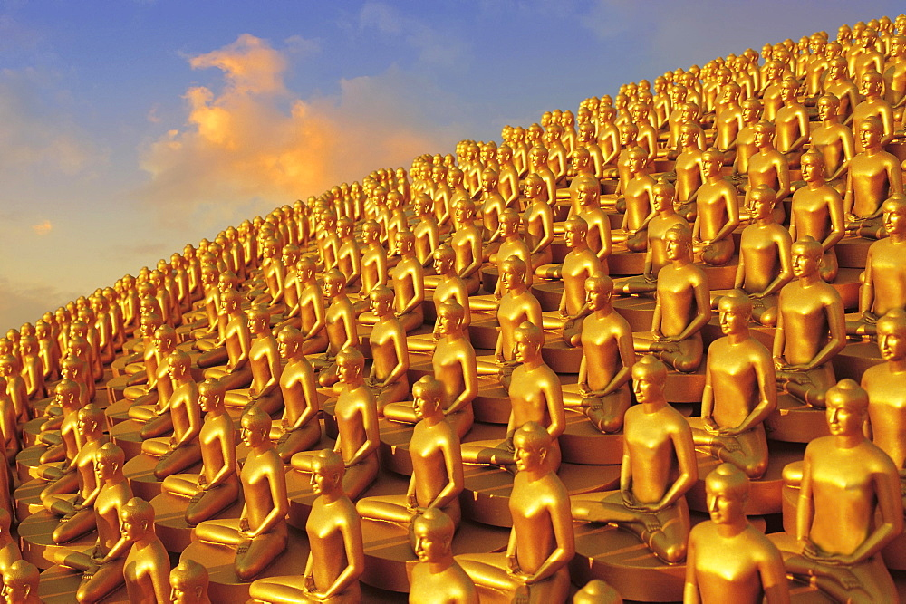 Small golden Dhammakaya Buddha statues at the Chedi, Buddhist temple Wat Phra Dhammakaya, Mahadhammakaya Cetiya, Khlong Luang District, Pathum Thani, Bangkok, Thailand, Asia
