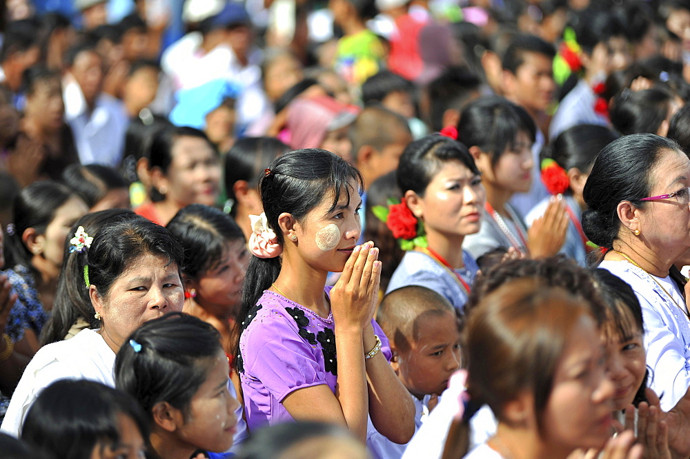 Praying believers in the Azarni Road, Bigboon Festival, day of meditation, pilgrims' procession, Dhammakaya Foundation, Dawei, Tanintharyi Region, Myanmar, Asia