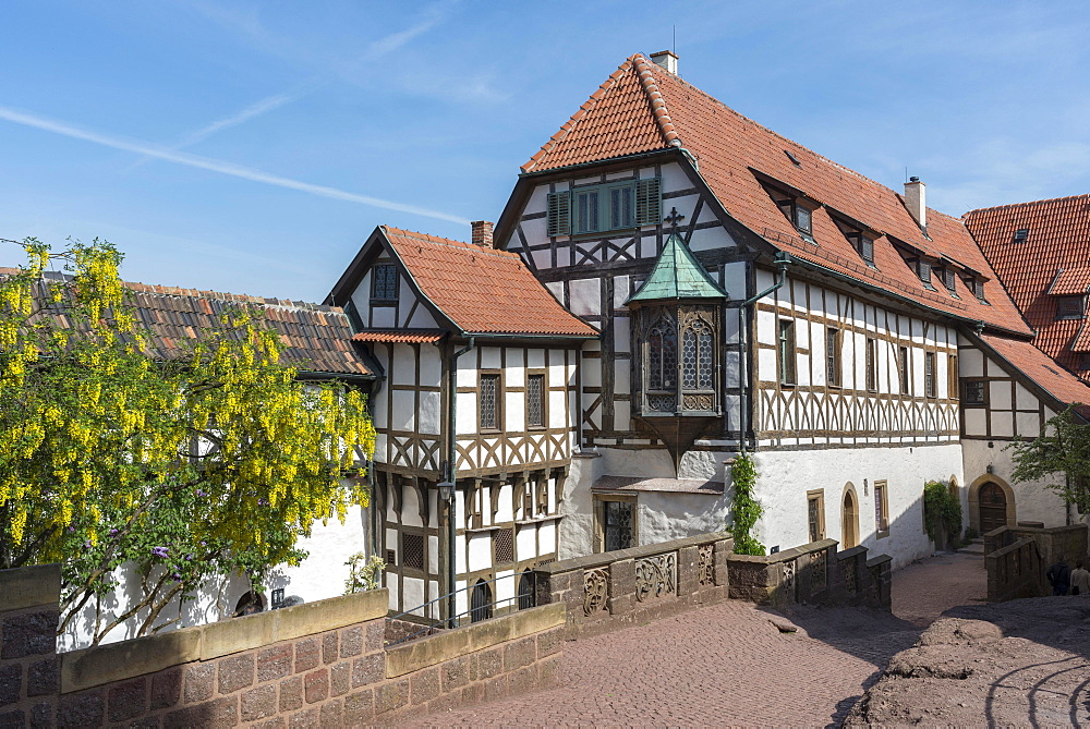 First castle yard of the Wartburg, half-timbered house with Lutherstube, UNESCO World Heritage Site, after renovation in 2014, Eisenach, Thuringia, Germany, Europe