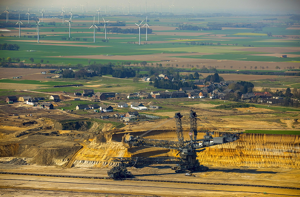 Aerial view, coal excavator in front of the destroyed Borschemich district, coal mine Garzweiler, Erkelenz, Niederrhein, North Rhine-Westphalia, Germany, Europe