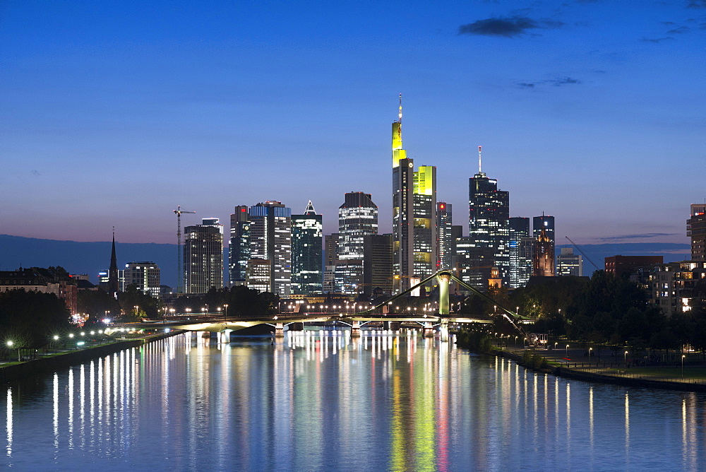 Skyline with river Main at dusk, Frankfurt am Main, Hesse, Germany, Europe