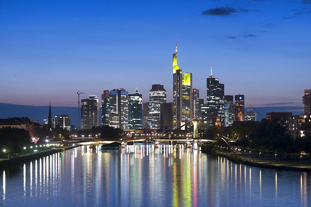 Skyline with river Main at dusk, Frankfurt am Main, Hesse, Germany, Europe