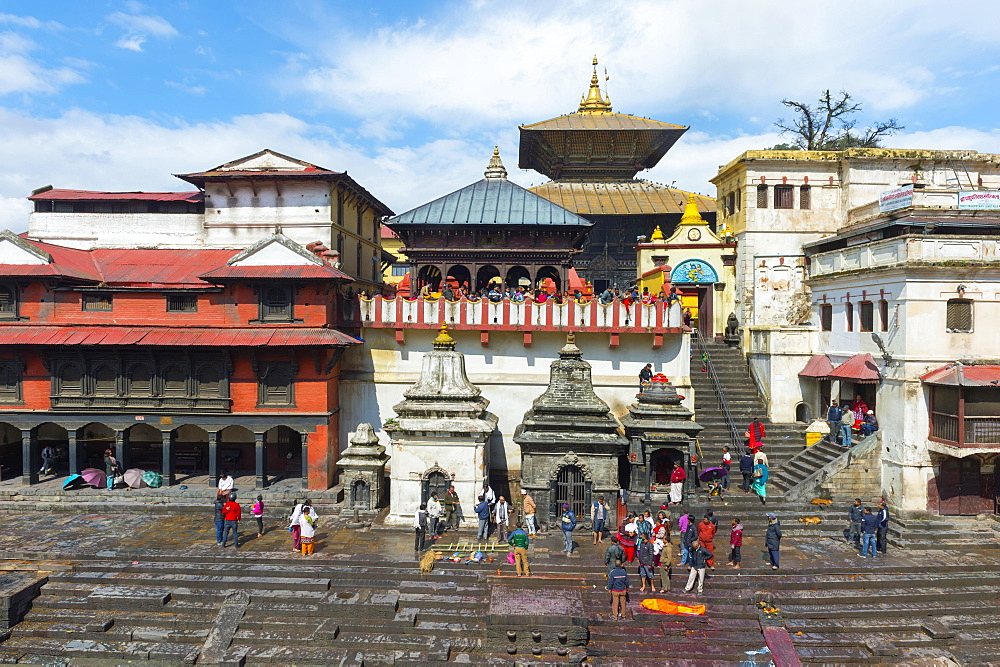 Cremation ghat along the Bagmati river, Pashupatinath Temple complex, Kathmandu, Nepal, Asia - 832-378806