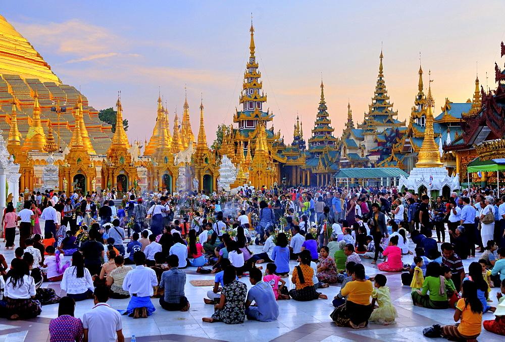 Marble terrace of the Shwedagon pagoda with believers, Yangon, formerly Rangoon, Myanmar, Asia