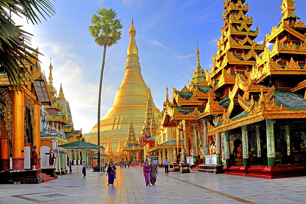 Marble platform with temples in front of the Shwedagon Pagoda, Yangon, formerly Rangoon, Myanmar, Asia