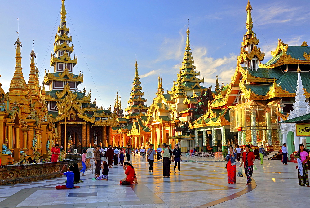 Temples and shrines on the marble platform of the Shwedagon Pagoda, Yangon, formerly Rangoon, Myanmar, Asia - 832-378811