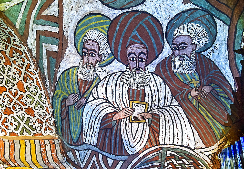 The Saints Isaac, Abraham and Jacob, fresco in the Orthodox rock church Abuna Yemata Guh, Gheralta region, Tigray, Ethiopia, Africa - 832-378814